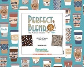 Coffee Theme Layer Cake Fabric, Perfect Blend Teal, 10 quot x 10 quot Quilting Squares, 100 Percent Cotton