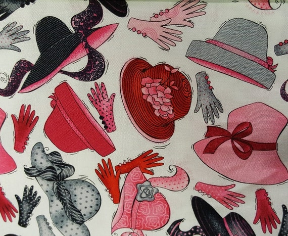 Fabric one quarter 1//4 yard Red hat society