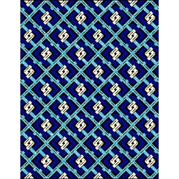 Tissu africain, africain, africain, Ankara, Holland Julius géométrique, bleu & Turquoise, nouveau Design, 6 verges | Art Exquis  beb973