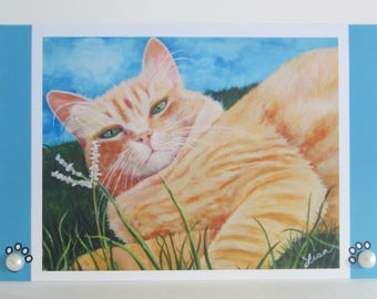 furry orange marmalade cat card