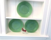 Jadeite Dinner Plates - Set of 3 - Jane Ray Pattern - Beautiful Mint Green - Fire-King - Oven Ware - Classic Vintage - Farmhouse - Cottage