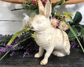 Vintage Bunny. Rabbit. Cast Iron. Coin Bank. White Rabbit. Bank. Flat Head Screw. 2 Part. Vintage Rabbit. White. Unmarked