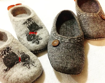 Felted slippers for husband and wife