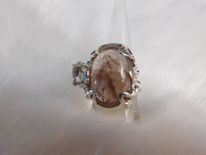 Large Rutulated Quartz Sterling Silver with Herkimer and Pink image 0