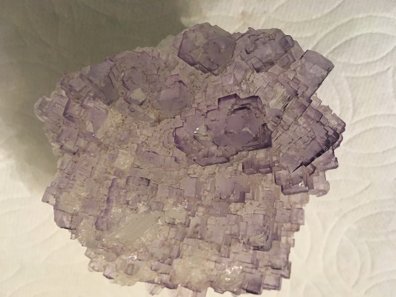 Light purple flourite crystal with beautiful square crystals image 0
