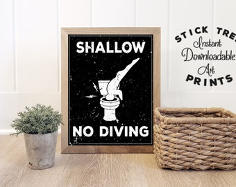 Shallow No Diving - funny bathroom art, bathroom digital print, bathroom decor, minimalist bathroom print, bathroom wall art, pool print