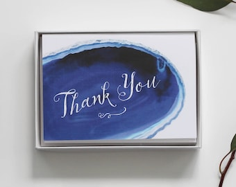 Geode Thank You Card Pack - Set of 10 Thank You Notes - Blue Agate Thank You Notes