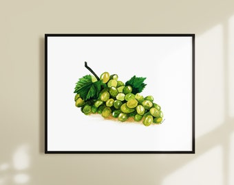 Grapes Watercolor Painting Instant Download - Printable Fruit Wall Art - Kitchen Wall Art Decor - Downloadable Modern Fruit Artwork