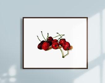 Cherries Watercolor Painting Instant Download - Printable Fruit Wall Art - Kitchen Wall Art Decor - Downloadable Modern Fruit Artwork
