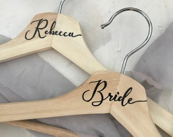 Hand Lettered Bridal Party Hangers - Wedding Party Hangers - Bridal Party Dress Hangers - Bridal Party Gifts - Wood Wedding Dress Hangers