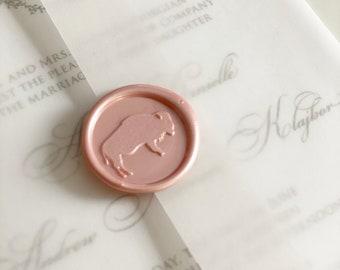 Buffalo Wax Seal - Peel and Stick - Stationery Wax Seal - Buffalo Wedding Invitation Wax Seal - Blush Pink Wax Seal