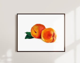 Peach Watercolor Painting Instant Download - Printable Fruit Wall Art - Kitchen Wall Art Decor - Downloadable Modern Fruit Artwork