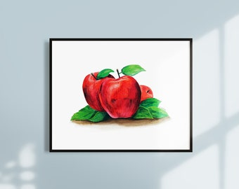 Apple Watercolor Painting Instant Download - Printable Fruit Wall Art - Kitchen Wall Art Decor - Downloadable Modern Fruit Artwork