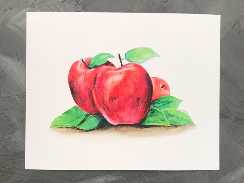 Kitchen Wall Art Decor Printable Fruit Wall Art Downloadable Modern Fruit Artwork Apple Watercolor Painting Instant Download