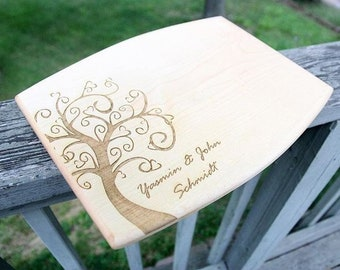 Curved Edge Tree Cutting Board for Family Name EST Wedding Gift, Home Decor, Anniversary Gift, Bridal Gift, Birthday, Housewarming