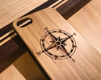 Compass Rose Real wood laser engraved phone case Iphone 6 6s 6s plus 7 7plus 8 8plus birthday, christmas, anniversary, nautical, ship, sea