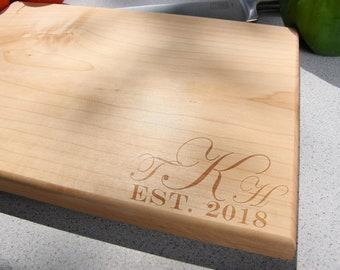 3 letter Monogram EST established Kitchen Christmas Gift Cutting Board, Wedding Gift, Home Decor, Anniversary Gift, Bridal Gift, Birthday