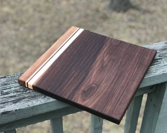 """Walnut and Maple Cutting Board with accent strips  9""""x12"""" Valentines Day Gift for Chef"""