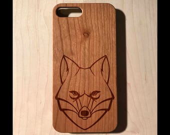 Fox Face Real wood laser engraved phone case Iphone 6 6s 6s plus 7 7plus Galaxy S7 S7 Edge christmas fathers day elk whitetail