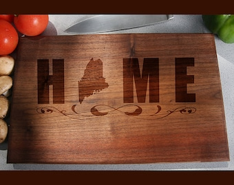 Maine Custom Engraved Cutting Board, Wedding Gift, Home Decor, Anniversary Gift, Bridal Gift, Birthday