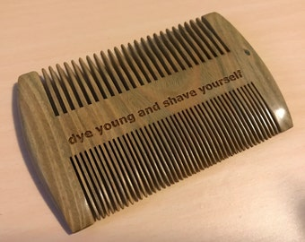 Sandalwood dye young and shave yourself personalized laser engraved wooden combs for birthday, personal gifts, hair care, hair products,