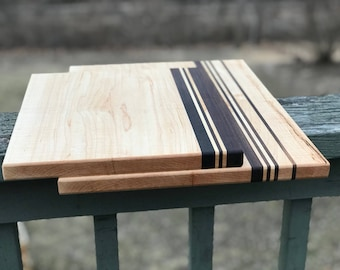 Set of Two Custom Handmade Hard Maple with Walnut stripes cutting board for cooking, cutting meat, vegetables, wedding gifts, christmas