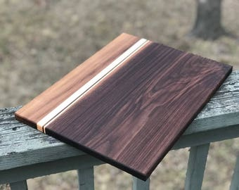 Large Custom Handmade Walnut with Hard Maple stripes cutting board for cooking, cutting meat, vegetables, wedding gifts, christmas fathers