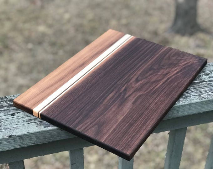 Featured listing image: Large Custom Handmade Walnut with Hard Maple stripes cutting board for cooking, cutting meat, vegetables, wedding gifts, christmas fathers
