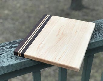 Standard Sized Custom Handmade Hard Maple with Walnut stripes cutting board for cooking, cutting meat, vegetables, wedding gifts christmas
