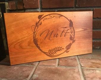 Full Board Olive Branch Monogram EST Christmas Gift Cutting Board, Wedding Gift, Home Decor, Anniversary Gift, Bridal Gift, Birthday, Housew