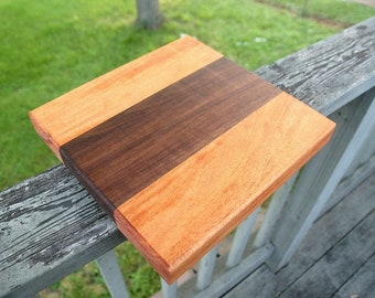 "Square Walnut and Mahogany 12""x12"" Cutting Board with finger holds for wedding gifts, christmas, housewarming gifts, kitchen decor"
