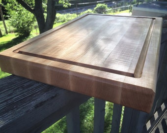 Custom Edge Grain Hard Maple Cutting Board with Juice Groove and backside Engraving for wedding gift, housewarming gift, realtor gift, decor
