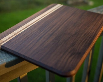 Large Custom Handmade Walnut with Figured Hard Maple stripes cutting board for cooking, cutting meat, vegetables, wedding gifts, Mother's Da