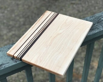 Large Custom Handmade Hard Maple with Walnut stripes cutting board for cooking, cutting meat, vegetables, wedding gifts, christmas fathers