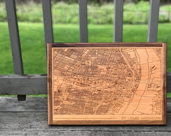 Laser Engraved Custom Street Map of St. Louis with walnut border for office/home decoration wedding gift father's day mother's day birthday