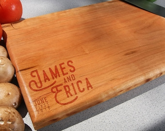 Couple Names EST established Kitchen Christmas Gift Cutting Board, Wedding Gift, Home Decor, Anniversary Gift, Bridal Gift, Birthday