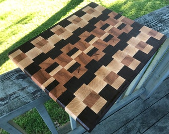 End Grain Walnut Cherry and Maple Pattern Cook Gift, End Grain Cutting Board, Culinary Gifts, Wooden Chopping Board, Bridal Shower Gift, Bes