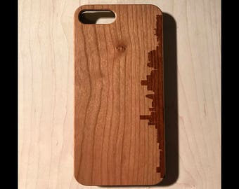 Houston Skyline Silhouette Piece Real wood laser engraved phone case Iphone 6 6s 6s plus 7 7plus Galaxy S7 S7 Edge christmas fathers day