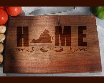 Virginia Custom Engraved Cutting Board, Wedding Gift, Home Decor, Anniversary Gift, Bridal Gift, Birthday