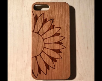 Giant half sunflower Real wood laser engraved phone case Iphone 6 6s 6s plus 7 7plus Galaxy S7 S7 Edge christmas gift