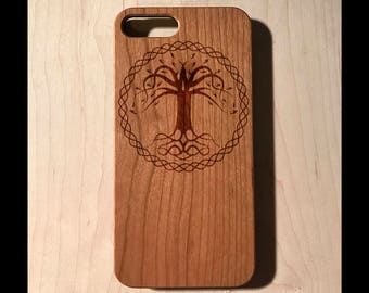 Celtic Tree Knot Real wood laser engraved phone case Iphone 6 6s 6s plus 7 7plus Galaxy S7 S7 Edge christmas fathers day birthday gift