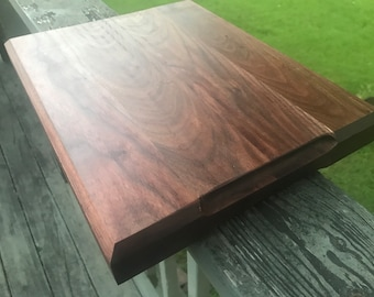 Solid Walnut Cutting Board with Dual Finger Holds and Chamfered Edges for Wedding Gift, Realtor Gift, Housewarming Gift, Kitchen Decor