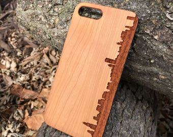 Chicago Skyline Silhouette Piece Real wood laser engraved phone case Iphone 6 6s 6s plus 7 7plus Galaxy S7 S7 Edge christmas fathers day