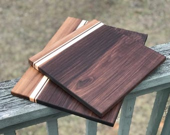 "Walnut and Maple Cutting Boards 9""x12"" and 9""x16""  with accent strips  9""x12"" Valentines Day Gift for Chef"