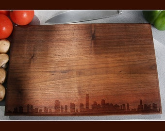 Miami Skyline Cutting Board Handmade, Kitchen Gifts For Mom, Florida Cutting Board, City Silhouette Chopping Board, Realtor Closing Gift