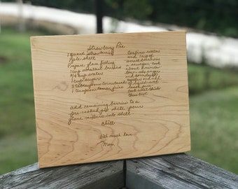 Handwritten Recipe Laser Engraved Cutting Boards for Christmas, thanksgiving, family gift, loved ones, best selling items, handwriting