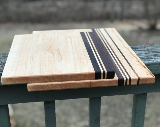 Featured listing image: Set of Two Custom Handmade Hard Maple with Walnut stripes cutting board for cooking, cutting meat, vegetables, wedding gifts, mothers day