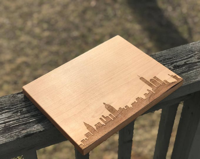 Featured listing image: New York City Skyline Cutting Board Handmade, Kitchen Gifts For Mom, New York Cutting Board, City Silhouette Chopping Board, Realtor Gift