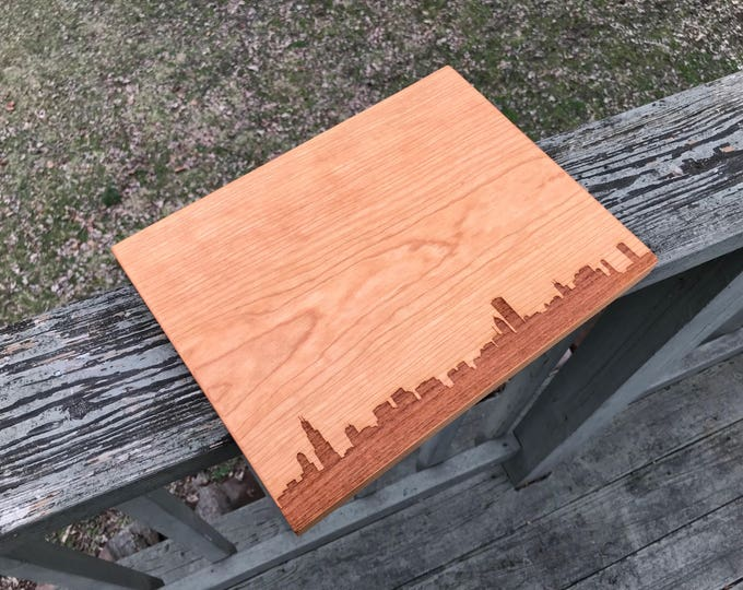 Featured listing image: Chicago Skyline Cutting Board Handmade, Kitchen Gifts for Mom, Illinois Cutting Board, City Silhouette Chopping Board, Realtor Closing Gift