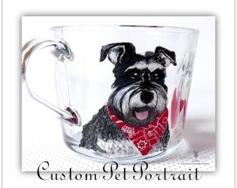 Custom Pet Portrait - 3 pets (head & shoulders), Custom Dog Mug, Cat Mug, Hand Painted Coffee Mug, Gift For Dog Lover, Gift For Cat Lover